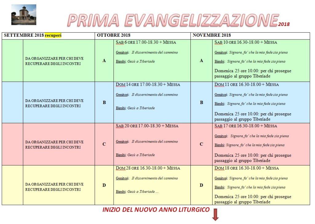 Calendario prima evangelizzazione per chi prosegue il cammino