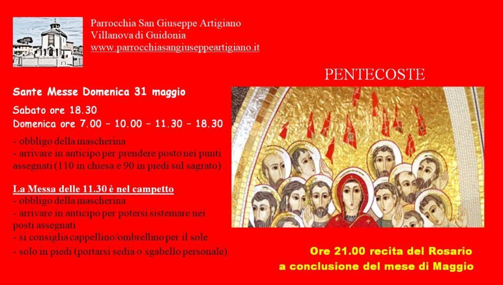 Orario Messe domenica 31 maggio
