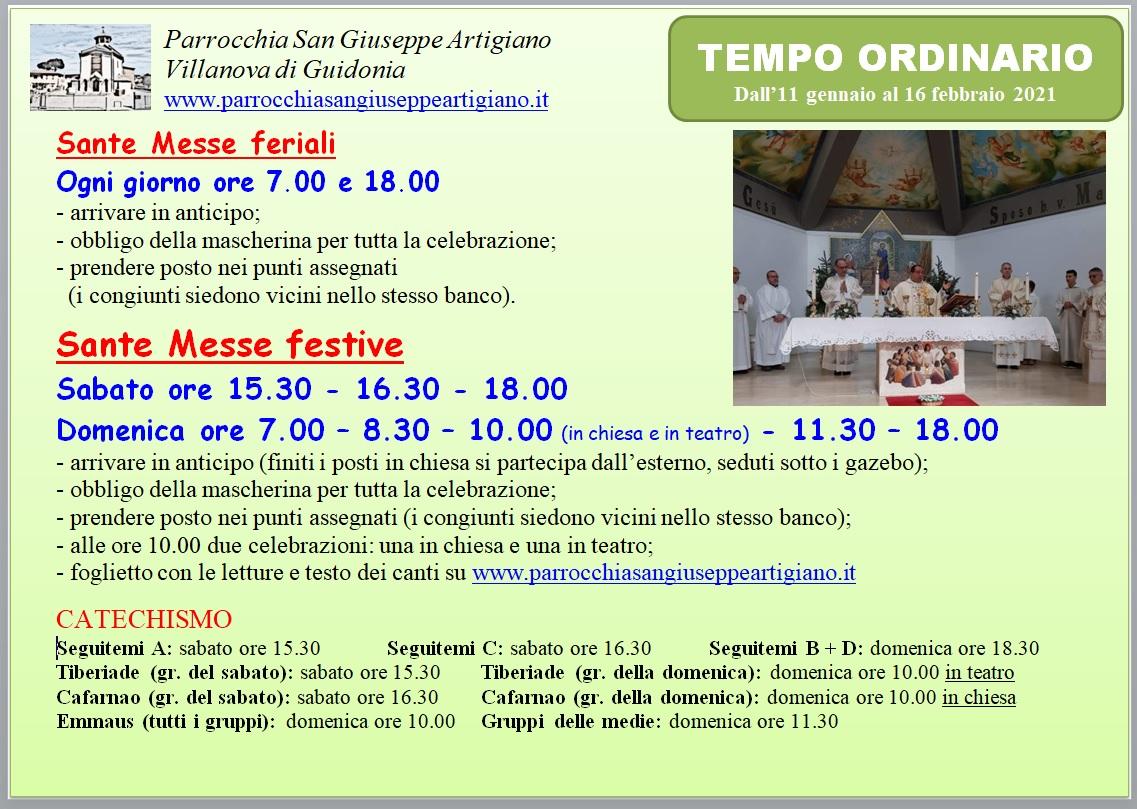 Orario Messe gennaio febbraio 2021