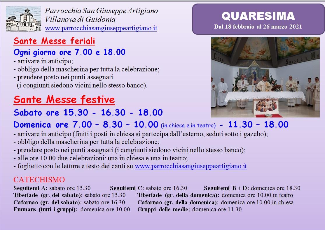 Orario Messe Quaresima