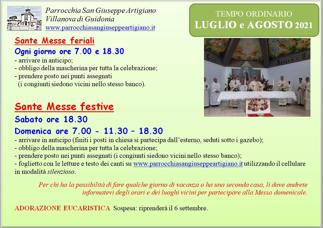 Orario Messe LUGLIO e AGOSTO 2021